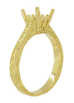 Art Deco 1.50 - 1.75 Carat Crown Filigree Scrolls Engagement Ring Setting in 18 Karat Yellow Gold