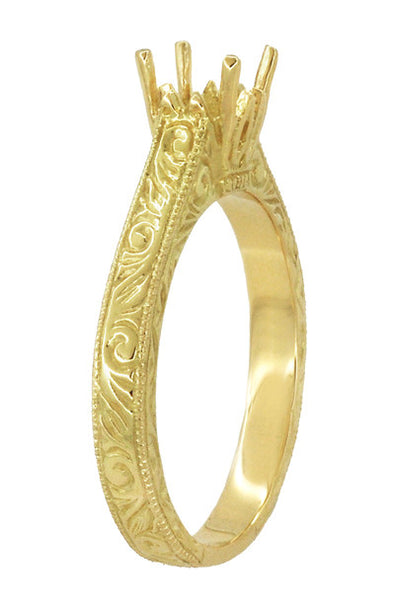 Art Deco Crown Scrolls Filigree 1/3 Carat Ring Setting in 18 or 14 Karat Yellow Gold - Item: R199PRY14K33 - Image: 2