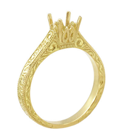 Art Deco Crown Scrolls Filigree 1/3 Carat Ring Setting in 18 or 14 Karat Yellow Gold - Item: R199PRY14K33 - Image: 3