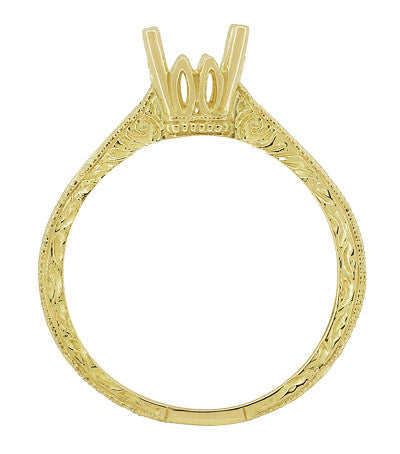 Art Deco Crown Scrolls Filigree 1/3 Carat Ring Setting in 18 or 14 Karat Yellow Gold - Item: R199PRY14K33 - Image: 4