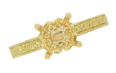 Art Deco Crown Scrolls Filigree 1/3 Carat Ring Setting in 18 or 14 Karat Yellow Gold - Item: R199PRY14K33 - Image: 5