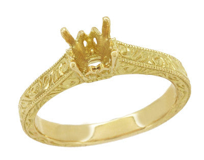 Art Deco Crown Scrolls Filigree 1/3 Carat Ring Setting in 18 or 14 Karat Yellow Gold - Item: R199PRY14K33 - Image: 1