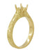 Art Deco Crown Scrolls Filigree 1/3 Carat Ring Setting in 18 or 14 Karat Yellow Gold