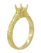 Art Deco 1/2 Carat Crown Scrolls Filigree Engagement Ring Setting in 18 Karat Yellow Gold