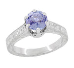 Art Deco Crown Filigree Scrolls Tanzanite Engraved Engagement Ring in Platinum
