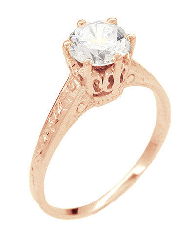 Art Deco 1 Carat Crown Filigree Engagement Ring Setting in 18 Karat Rose ( Pink ) Gold - Item: R199R - Image: 2