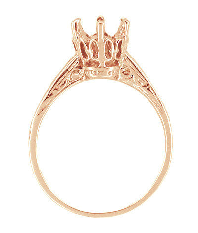 Art Deco 1 Carat Crown Filigree Engagement Ring Setting in 18 Karat Rose ( Pink ) Gold - Item: R199R - Image: 1
