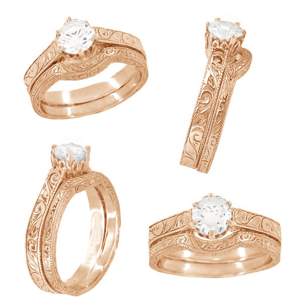 Art Deco 1/4 Carat Crown Filigree Scrolls Engagement Ring Setting in 14 Karat Rose Gold - Item: R199R25 - Image: 4