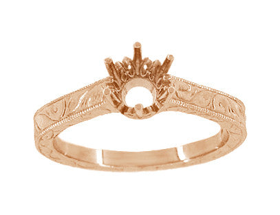 Art Deco 1/3 Carat Crown Filigree Scrolls Engagement Ring Setting in 14 Karat Rose Gold - Item: R199R33 - Image: 2