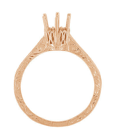 Art Deco 1/3 Carat Crown Filigree Scrolls Engagement Ring Setting in 14 Karat Rose Gold - Item: R199R33 - Image: 1