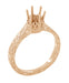 Art Deco 1/3 Carat Crown Filigree Scrolls Engagement Ring Setting in 14 Karat Rose Gold