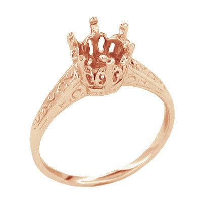 Art Deco 1 Carat Crown Filigree Engagement Ring Setting in 18 Karat Rose ( Pink ) Gold