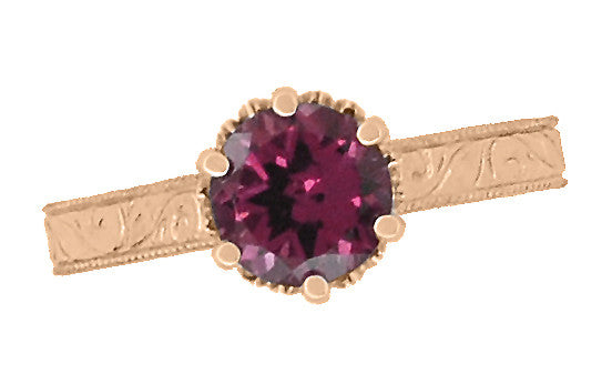 Art Deco Crown Filigree Scrolls 1.5 Carat Rhodolite Garnet Engagement Ring in 14 Karat Rose ( Pink ) Gold - Item: R199RG - Image: 4