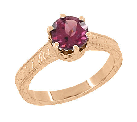 Art Deco Crown Filigree Scrolls 1.5 Carat Rhodolite Garnet Engagement Ring in 14 Karat Rose ( Pink ) Gold - Item: R199RG - Image: 1