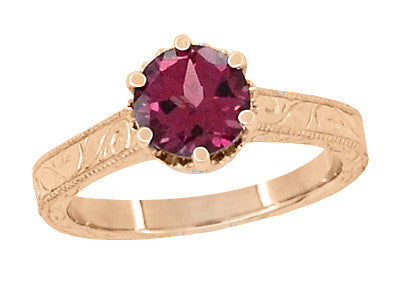 Art Deco Crown Filigree Scrolls 1.5 Carat Rhodolite Garnet Engagement Ring in 14 Karat Rose ( Pink ) Gold