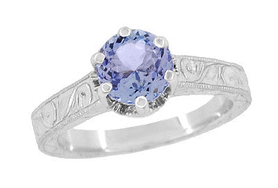 Art Deco Tanzanite Crown Filigree Scrolls Engraved Engagement Ring in 18 Karat White Gold - December Birthstone - Item: R199TA - Image: 2