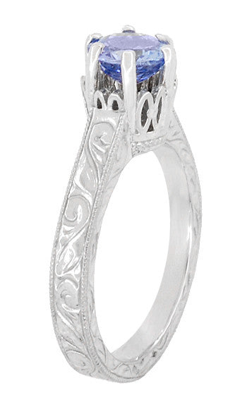 Art Deco Tanzanite Crown Filigree Scrolls Engraved Engagement Ring in 18 Karat White Gold - December Birthstone - Item: R199TA - Image: 3