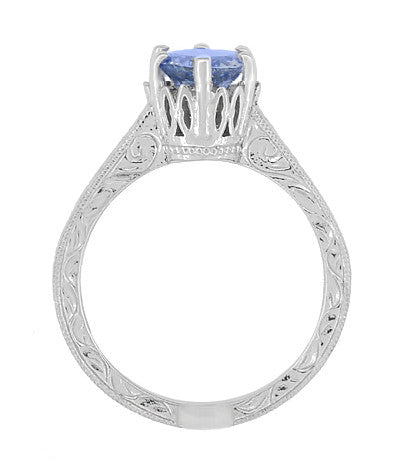 Art Deco Tanzanite Crown Filigree Scrolls Engraved Engagement Ring in 18 Karat White Gold - December Birthstone - Item: R199TA - Image: 5