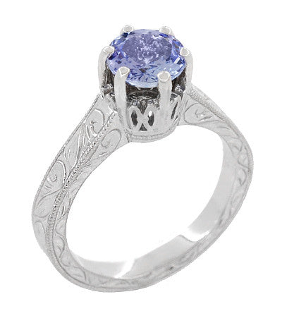 Art Deco Tanzanite Crown Filigree Scrolls Engraved Engagement Ring in 18 Karat White Gold - December Birthstone - Item: R199TA - Image: 1