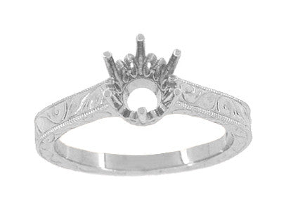Art Deco 1 Carat Crown Filigree Scrolls Engagement Ring Setting in 18 Karat White Gold - 6.5mm Round Mount - Item: R199W1 - Image: 2