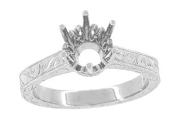 Art Deco 7mm Round Stone Crown Engagement Ring Setting in 18K White Gold (1.25 - 1.50 Carat) Filigree Scrolls Engraved - Item: R199W125 - Image: 2