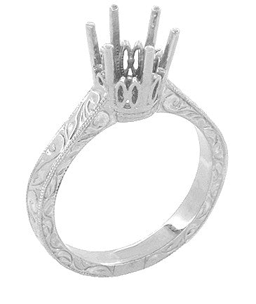 Art Deco 1.50 - 1.75 Carat Crown Filigree Scrolls Engagement Ring Setting in 18 Karat White Gold - Round Stone Mounting