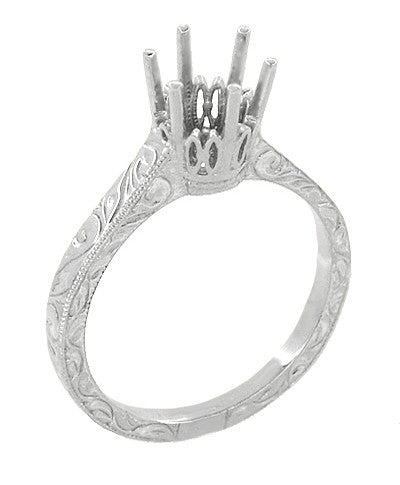 Art Deco 1 Carat Crown Filigree Scrolls Engagement Ring Setting in 18 Karat White Gold - 6.5mm Round Mount