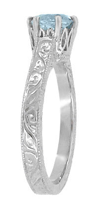 Art Deco Crown Filigree Scrolls 1 Carat Aquamarine Engraved Engagement Ring in 18 Karat White Gold - Item: R199W1A - Image: 2