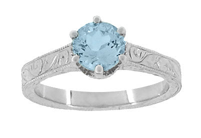 Art Deco Crown Filigree Scrolls 1 Carat Aquamarine Engraved Engagement Ring in 18 Karat White Gold - Item: R199W1A - Image: 4