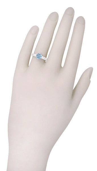 Art Deco Crown Filigree Scrolls 1 Carat Aquamarine Engraved Engagement Ring in 18 Karat White Gold - Item: R199W1A - Image: 6