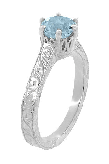 Art Deco Crown Filigree Scrolls 1 Carat Aquamarine Engraved Engagement Ring in 18 Karat White Gold - Item: R199W1A - Image: 1