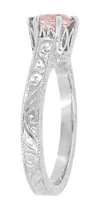 Art Deco Crown Filigree Scrolls 1 Carat Morganite Engraved Engagement Ring in 18 Karat White Gold - Item: R199W1M - Image: 2