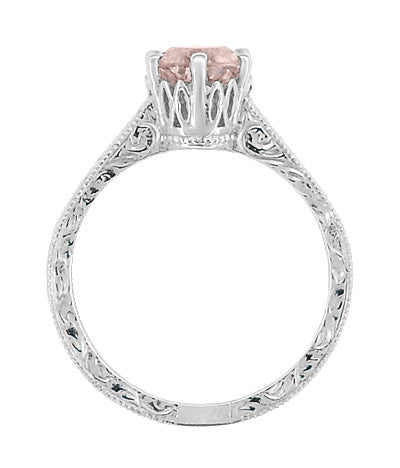 Art Deco Crown Filigree Scrolls 1 Carat Morganite Engraved Engagement Ring in 18 Karat White Gold - Item: R199W1M - Image: 3