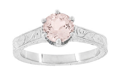 Art Deco Crown Filigree Scrolls 1 Carat Morganite Engraved Engagement Ring in 18 Karat White Gold - Item: R199W1M - Image: 4