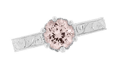 Art Deco Crown Filigree Scrolls 1 Carat Morganite Engraved Engagement Ring in 18 Karat White Gold - Item: R199W1M - Image: 5