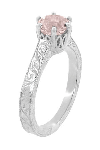 Art Deco Crown Filigree Scrolls 1 Carat Morganite Engraved Engagement Ring in 18 Karat White Gold - Item: R199W1M - Image: 1