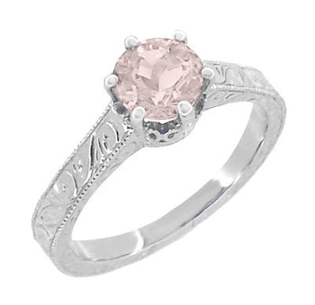 Art Deco Crown Filigree Scrolls 1 Carat Morganite Engraved Engagement Ring in 18 Karat White Gold