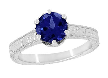Art Deco Crown Filigree Scrolls 1.5 Carat Blue Sapphire Engraved Solitaire Engagement Ring in 18 Karat White Gold