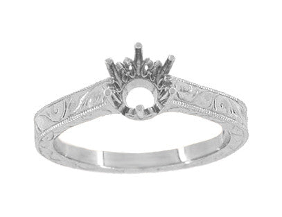 Art Deco Scroll Engraved 1/2 Carat Crown Filigree Engagement Ring Setting in 18 Karat White Gold - Item: R199W50 - Image: 2
