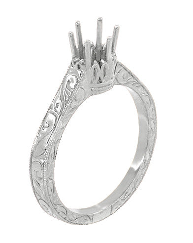 Art Deco Scroll Engraved 1/2 Carat Crown Filigree Engagement Ring Setting in 18 Karat White Gold - Item: R199W50 - Image: 3