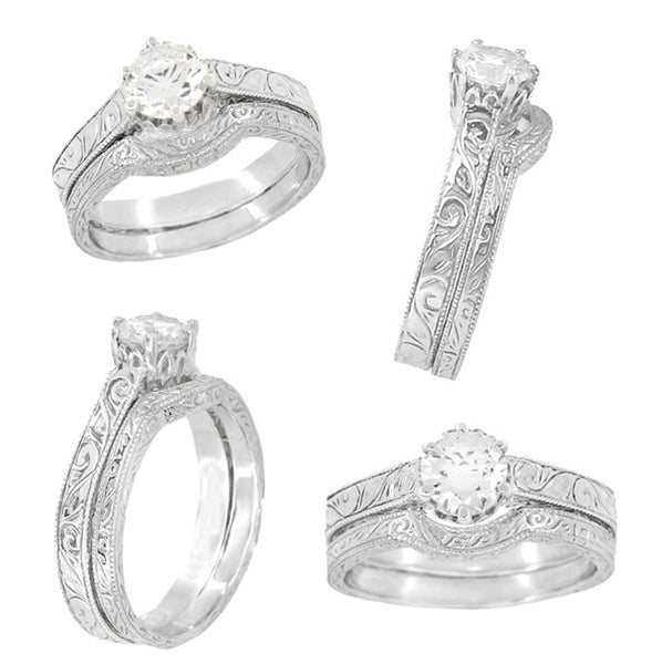Art Deco Scroll Engraved 1/2 Carat Crown Filigree Engagement Ring Setting in 18 Karat White Gold - Item: R199W50 - Image: 4