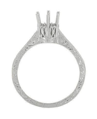 Art Deco Scroll Engraved 1/2 Carat Crown Filigree Engagement Ring Setting in 18 Karat White Gold - Item: R199W50 - Image: 1
