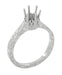 Art Deco Scroll Engraved 1/2 Carat Crown Filigree Engagement Ring Setting in 18 Karat White Gold