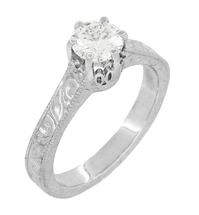 Art Deco Crown Filigree Scrolls Engraved White Sapphire Engagement Ring in 18 Karat White Gold - Item: R199W50WS - Image: 2