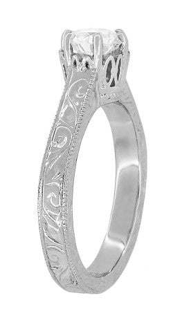 Art Deco Crown Filigree Scrolls Engraved White Sapphire Engagement Ring in 18 Karat White Gold - Item: R199W50WS - Image: 3