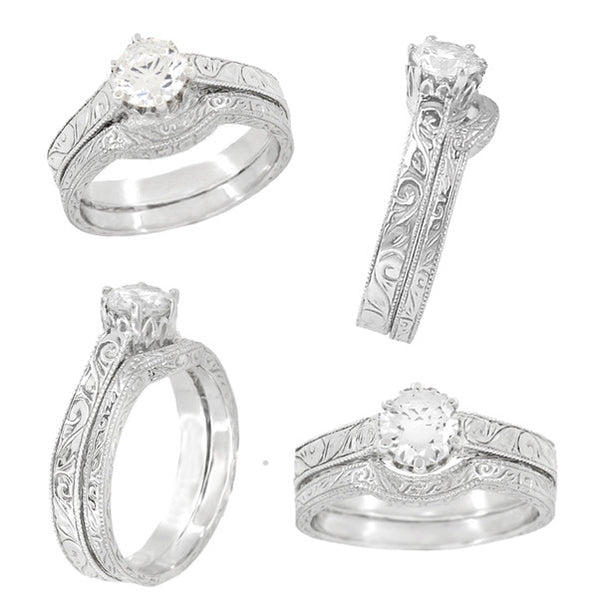 Art Deco Crown Filigree Scrolls Engraved White Sapphire Engagement Ring in 18 Karat White Gold - Item: R199W50WS - Image: 5