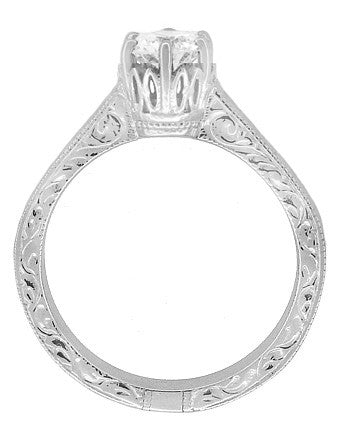 Art Deco Crown Filigree Scrolls Engraved White Sapphire Engagement Ring in 18 Karat White Gold - Item: R199W50WS - Image: 1