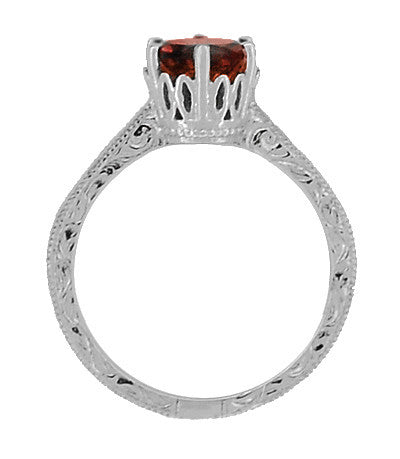 Art Deco Crown Filigree Scrolls 1.5 Carat Almandine Garnet Engagement Ring in 18 Karat White Gold - Item: R199WAG - Image: 3