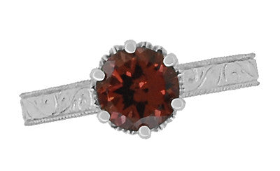 Art Deco Crown Filigree Scrolls 1.5 Carat Almandine Garnet Engagement Ring in 18 Karat White Gold - Item: R199WAG - Image: 4