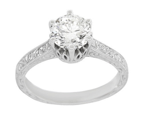 Art Deco Filigree Scrolls Tiara Crown 1.19 Carat Solitaire Diamond Engraved Engagement Ring in 18 Karat White Gold - Item: R199WD125 - Image: 2